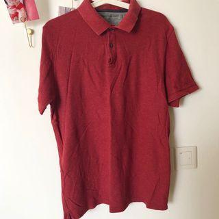 🚚 M&S Polo shirt L dark red