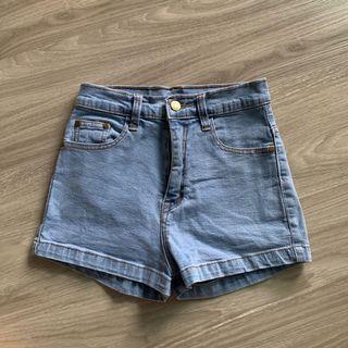 Light Denim High Waist Shorts