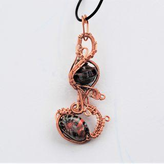 Tangled Life Pendant Copper Wire Wrap Necklace India Handmade Lampwork Art Glass