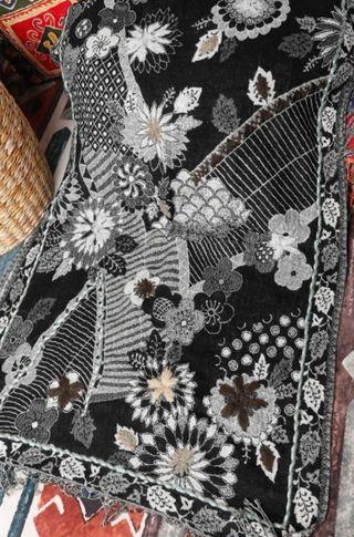 handmade wool shawl from India - lj27