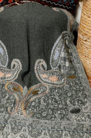 handmade wool shawl from India - lj41