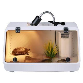 Reptile Lizard Habitat Tank Large Size, Suitable for Tortoise Terrapin Turtle Micro Crab Frog Amphibian Pet Aquarium Vivarium Enclosed Front Window Cover Box, Easy Water Changing, 48cm x 25.5cm x 25.5cm White Colour