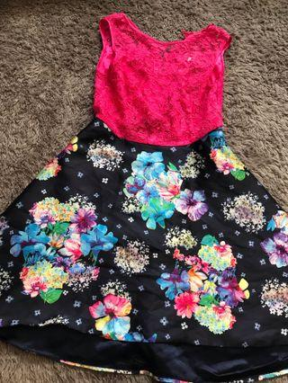 Dress pink with flowers