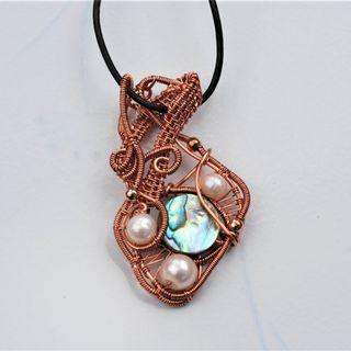 Abalone Shell Culture Pearl Pendant Copper Wire Wrap Necklace Artisan Jewelry