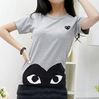 Women S/M • Japan Grey T-shirt with Half Black Heart