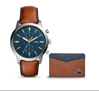 Fossil Chrono Leather Watch and Name card holder! Father Day Gift!