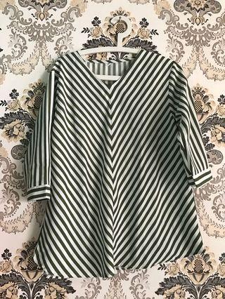 Blouse stripe hijau