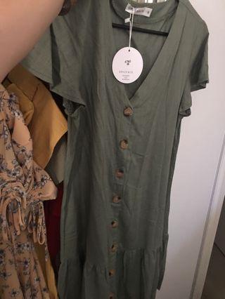Linen button frill dress