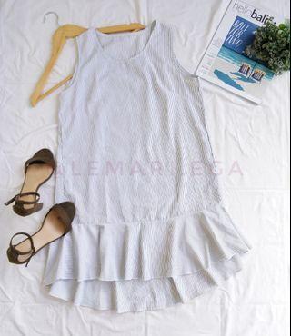 Striped Frill Hem Long Top/Mini Dress
