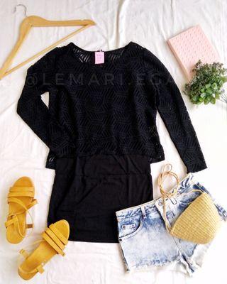Lace Black Blouse Free Long Camisole