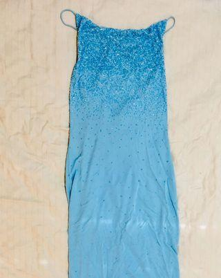 Blue night gown dress with sequins