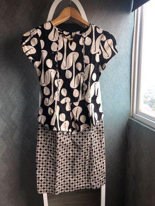 Dress batik all size warna brown, bahan melar