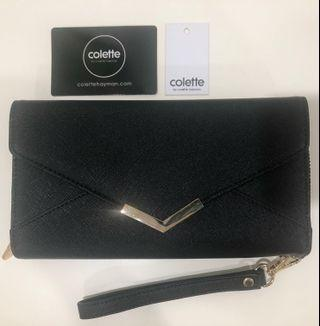 Colette black clutch and wallet