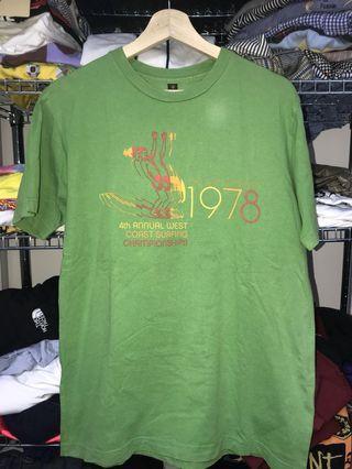 Surfing tee t shirt top vintage hawaiian green pastel 古著滑涼