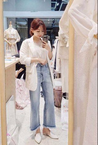 🚚 韓國 版型和刷色超美淺色牛仔小寬褲(S.M.L三碼)