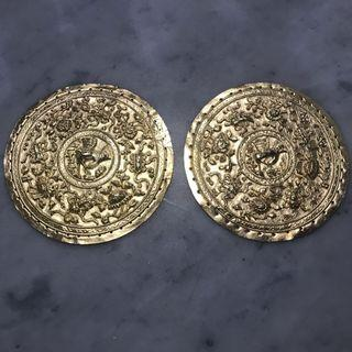 1920s Peranakan Silver Gold Plated Bolster Ends with Cranes
