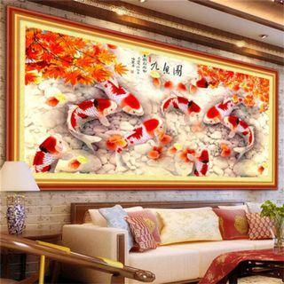 DIY [Koi Fish] Full Diamonds Painting / Diamond Cross Stitch Craft Kit (Size: 120x50cm)