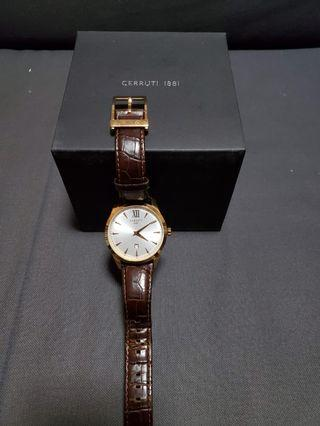🚚 Cerutti 1881 42mm rose gold brown leather strap
