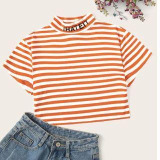 "Orange Striped Crop TOp ""I Hate It"""
