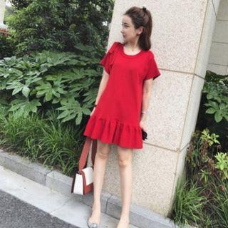 Red Knitted Fishtail Dress