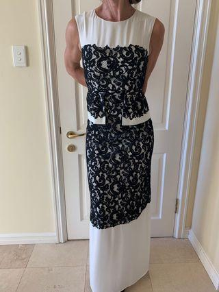 BCBG Maxazria Black and White Lace Gown