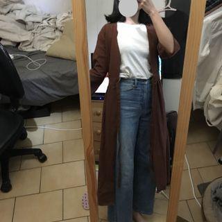 🚚 「全新500元Mercci22咖色棉麻七分袖長版外套、罩衫」