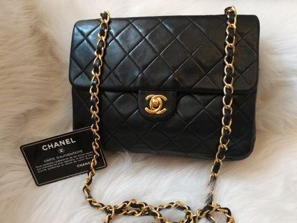 🎊On sale🎊現貨Vintage Chanel黑色羊皮金扣方胖子square flap bag