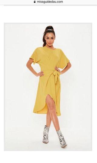 Tie Waist Sleeve Detailed Dress