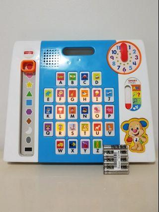 FISHER PRICE learning toy laugh and learn puppy's a to z smart pad shapes, letters, colours, numbers