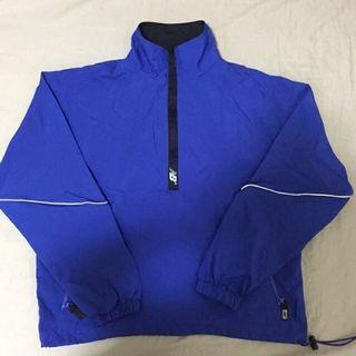 New balance半拉鏈藍黑拼色古著衝鋒衣