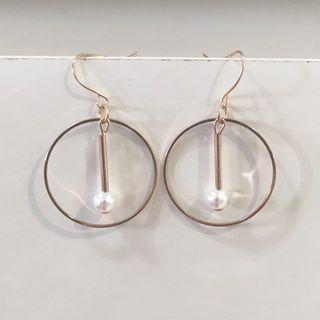 🚚 Minimalist Pearl Earrings, Dangling Gold Hoops
