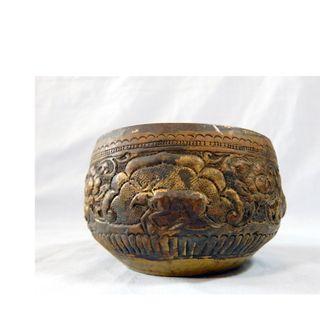 Antique Tibetan brass prayer bowl zodaic animals bas relief circa early 1900s 8