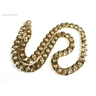 Vintage 1980s Thick Curb Chain Necklace, nk1121-c