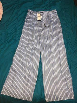 Wide leg Blue Stripe Pants