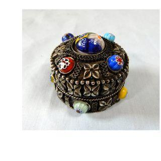 Antique rare Tibetan silver trinket box glass beads hand crafted c early 1900s