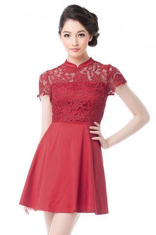 Crochet lace cheongsam dress in red