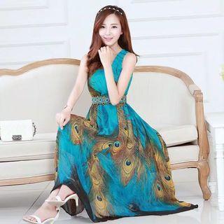 Premium long dress peacock merak longgar maxi dress chiffon sifon import gamis kaftan