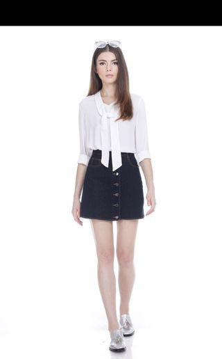 TCL Ria Denim Skirt in Black