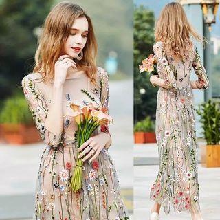 Premium dress chiffon sifon panjang motif bunga import fashion wanita terusan