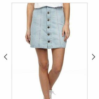 A-line Denim Button Down Skirt Cotton On