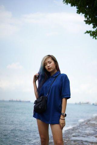 Blue oversized polo tshirt