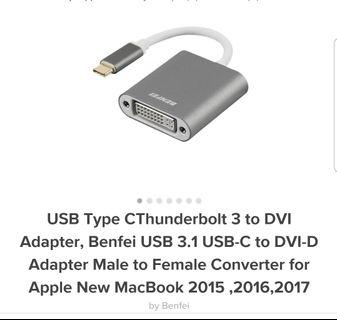 Benfei USB Type C to DVI-D for Apple MacBook 2017, 2016, 2015