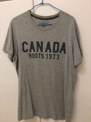 🚚 男款Canada Roots刺繡灰色短袖