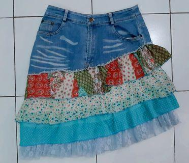 Rok skirt denim hand made