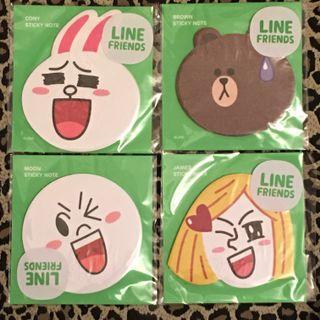 💢包郵💢 Line Friends Sticky Note 便利貼 一套四款 CONY•MOON•BROWN•JAMES Made in KOREA