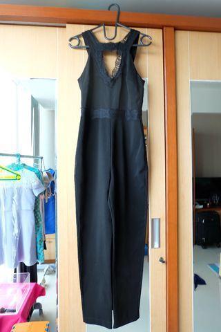 TOPSHOP Black Lace Jumpsuit