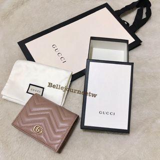 🚚 法國代購 Gucci GG marmont 藕粉/黑/紅 牛皮短夾/卡夾 母親節特價💗🇫🇷