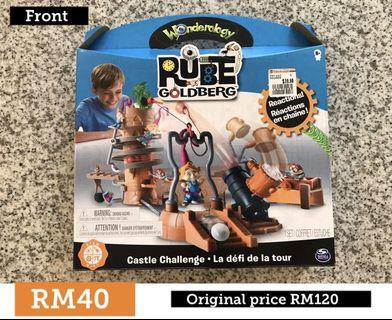 Rube Goldberg building chain reactions toy