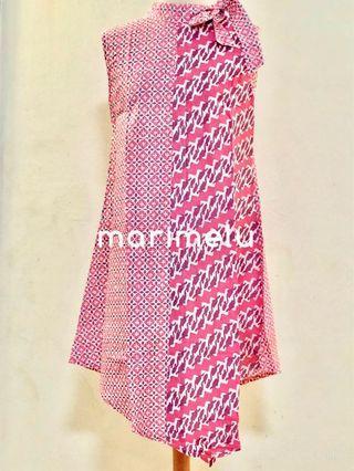 Blush pink modern batik halter neck dress