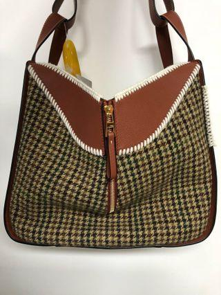 Loewe Hammock Tweed and Leather Medium Tote